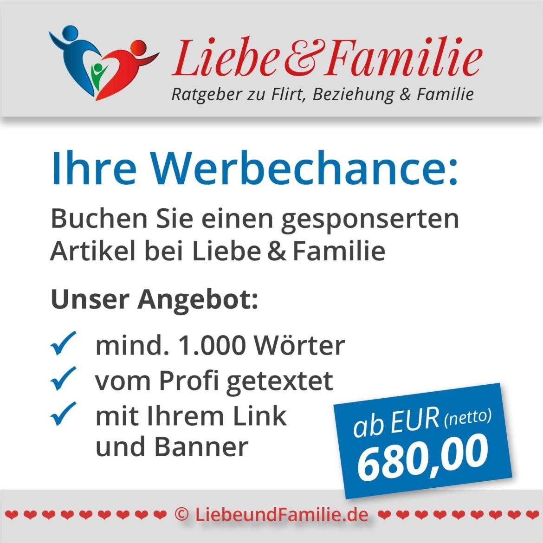 Anzeige für Werbung bei Liebe & Familie