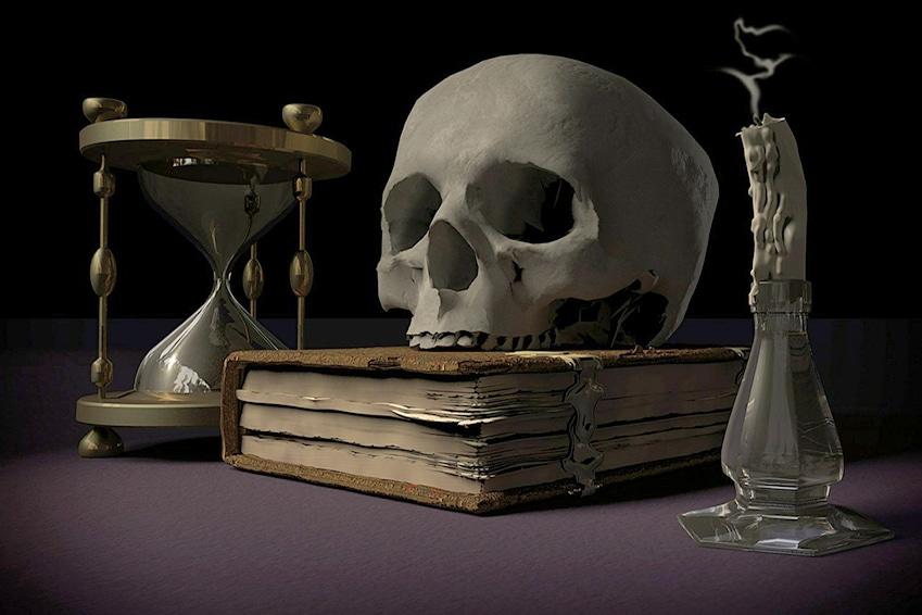 Schädel mit Buch und Stundenglas