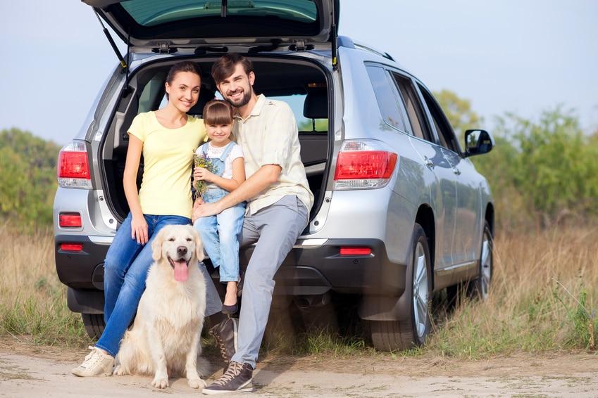 Familie sitzt bei offener Kofferraumklappe am Auto zusammen mit Hund