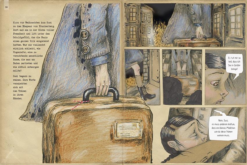 """Doppelseite aus dem Kinderbuch """"Susi, die Enkelin von Haus Nummer ... und die Zeit der versteckten Judensterne"""