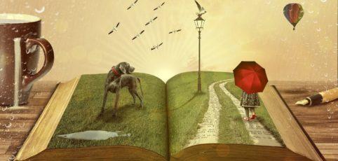 ein aufgeschlagenes Buch auf dem eine Szene mit Hund und ein Mädchen mit rotem Regenschirm aus der Geschichte zu sehen ist