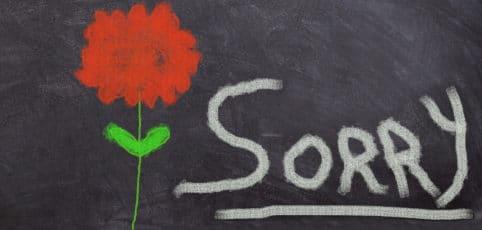 Tafel auf der eine Blume gemalt ist und sorry steht