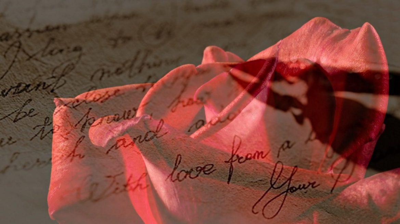 Liebesbrief mit roter Rose