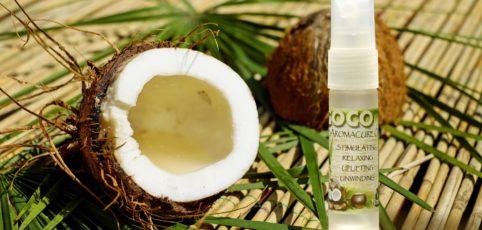 offenen Kokosnuss und eine Flasche Kokosnussöl
