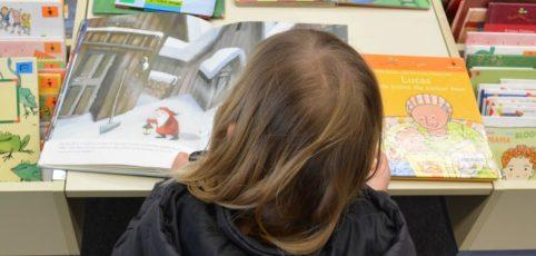 Lesendes Kind über einem Kinderbuch mit vielen Bildern