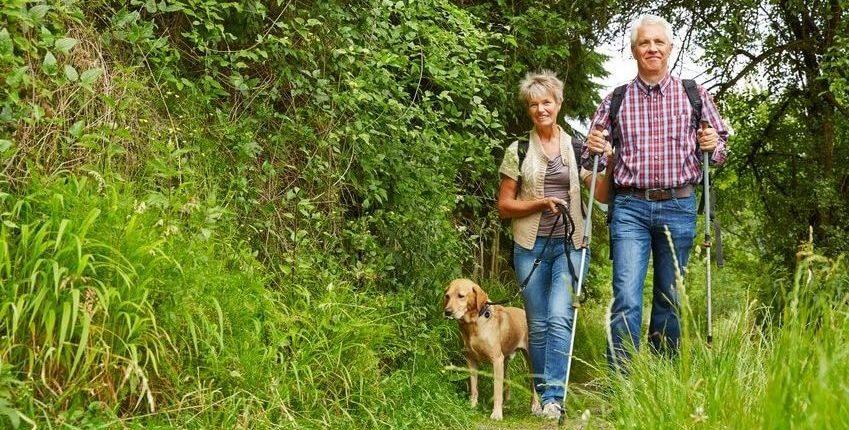 älteres Paar beim wandern mit Hund