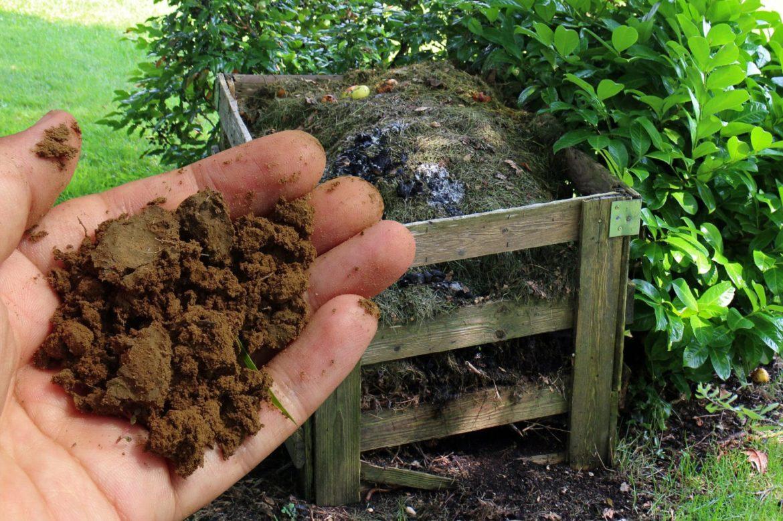 Kompost und Männerhand mit Komposterde