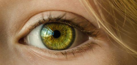 grünes Auge einer Frau ganz groß
