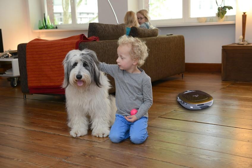 Saugroboter im Wohnzimmer während Familie mit Hund da ist