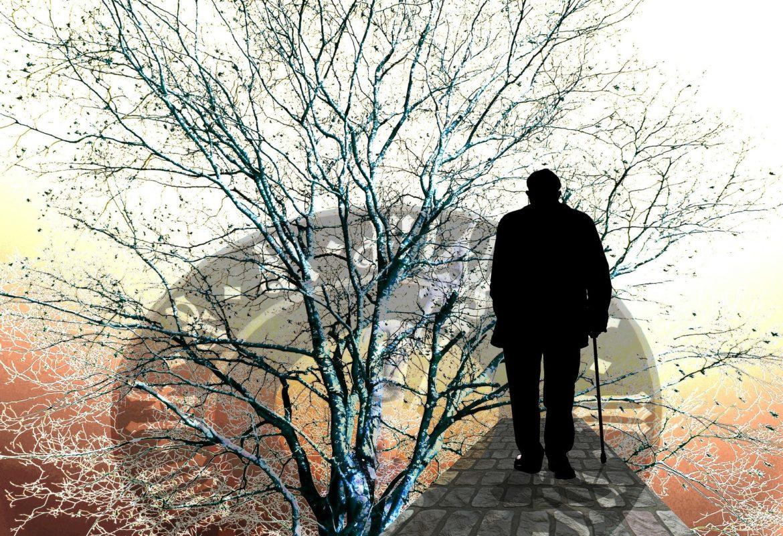 alter Mann am Stock geht durch den herbstlichen Park