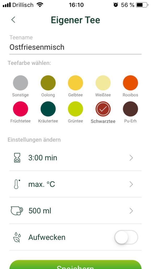 Teemaschine Test: In der Temial-App eigene Zubereitungsparameter speichern