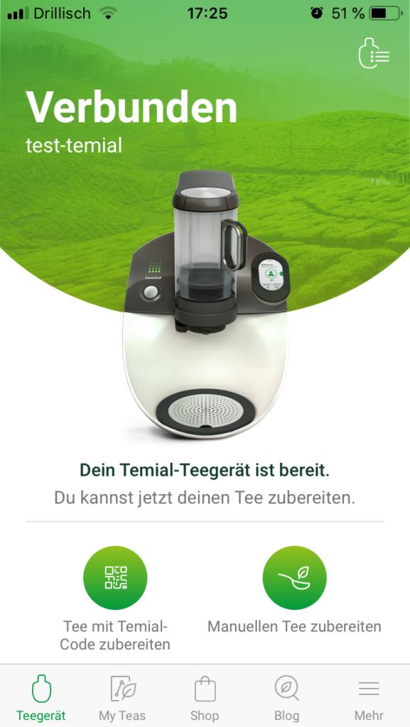 Temial Teemaschine Test: Startbildschirm der Temial-App