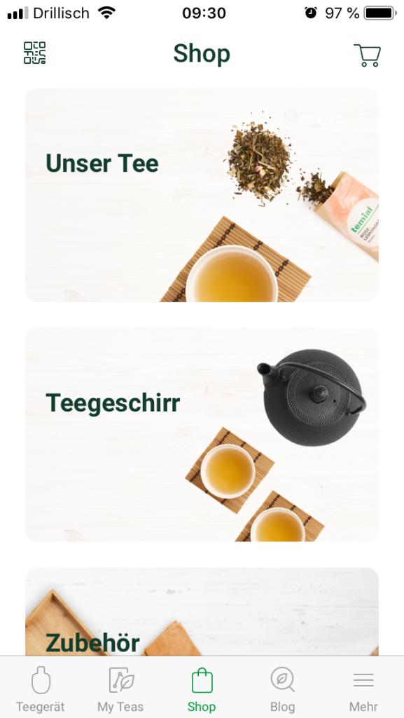 Temial Teemaschine Test: Shopanbindung in der Temial-App